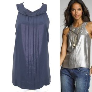 J. Crew Silk Top Pintuck Pleated Blue Metallic 14